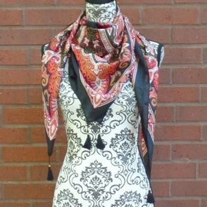 "Lucky Brand Paisley Tassels  Silk 44"" Scarf"